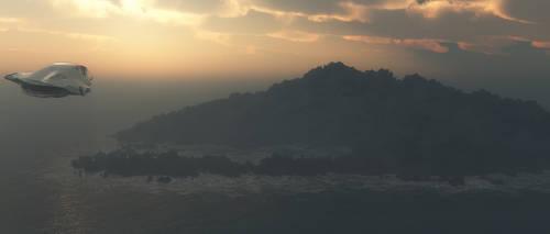 Island with spaceship by joelkuiper