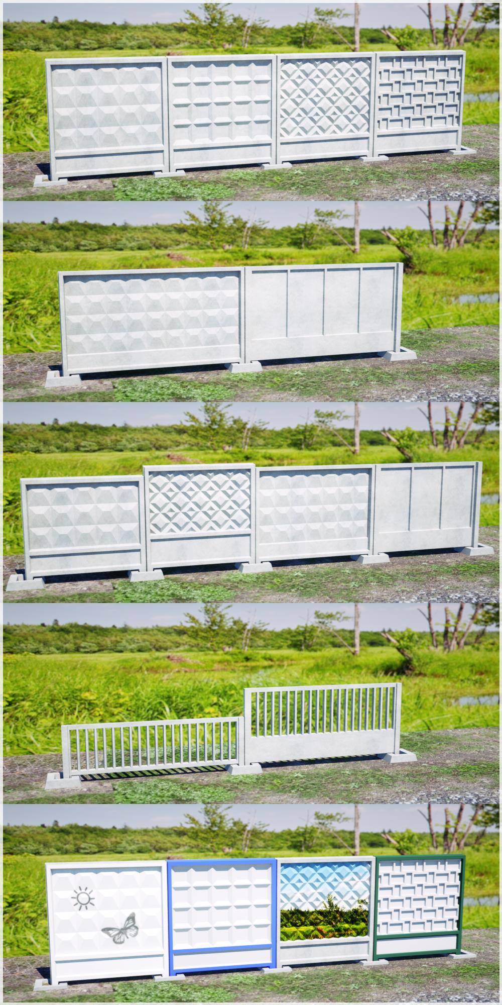 Modular concrete fence panels free 3d model obj by pnn32 on deviantart - Concrete fence models design ...