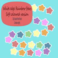 White edge Stars Brush soft rainbow colours