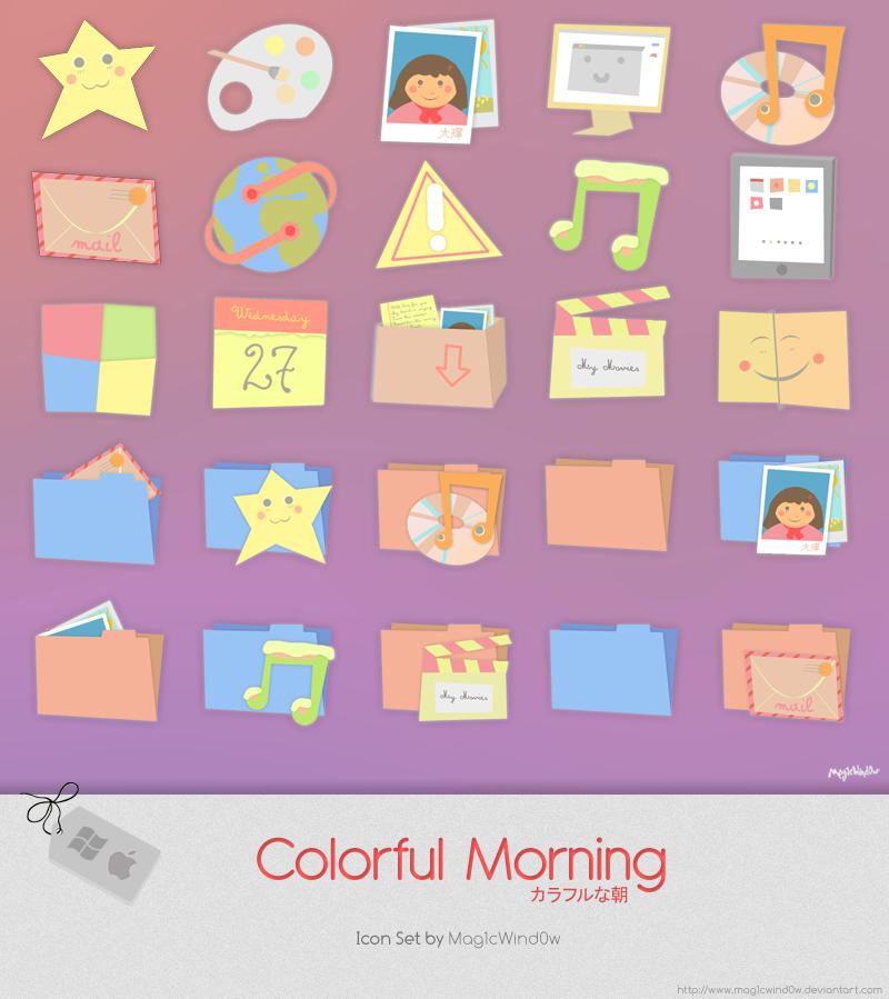Colorful Morning Icon Set