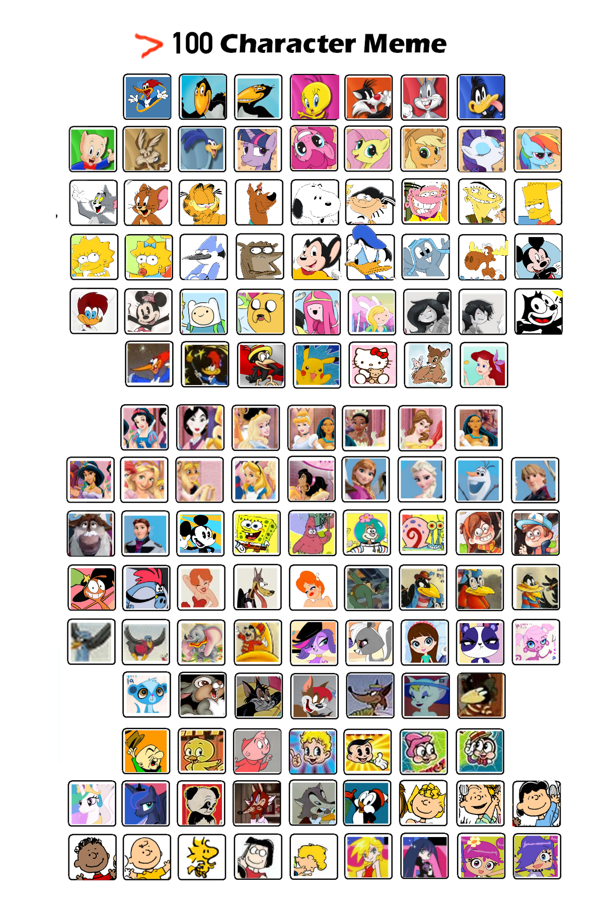 100 Pictures Cartoon Characters 125 cartoon character memesweetaerobaby87 on deviantart