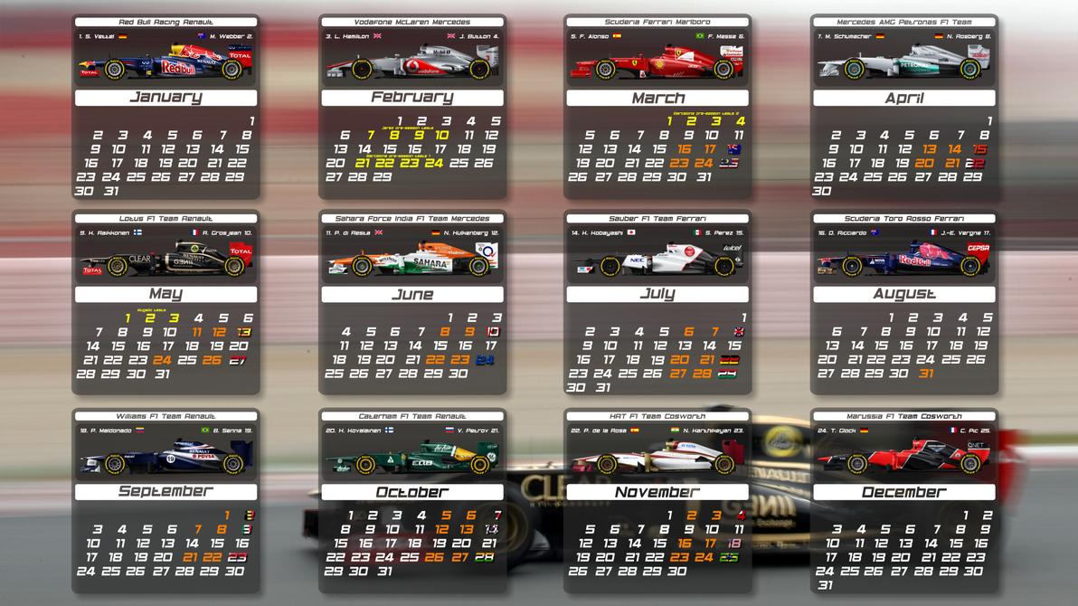 F1 2012 calendar by pieczaro on DeviantArt