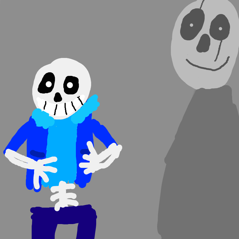 Sans with ghostly Gaster by deeznuts300