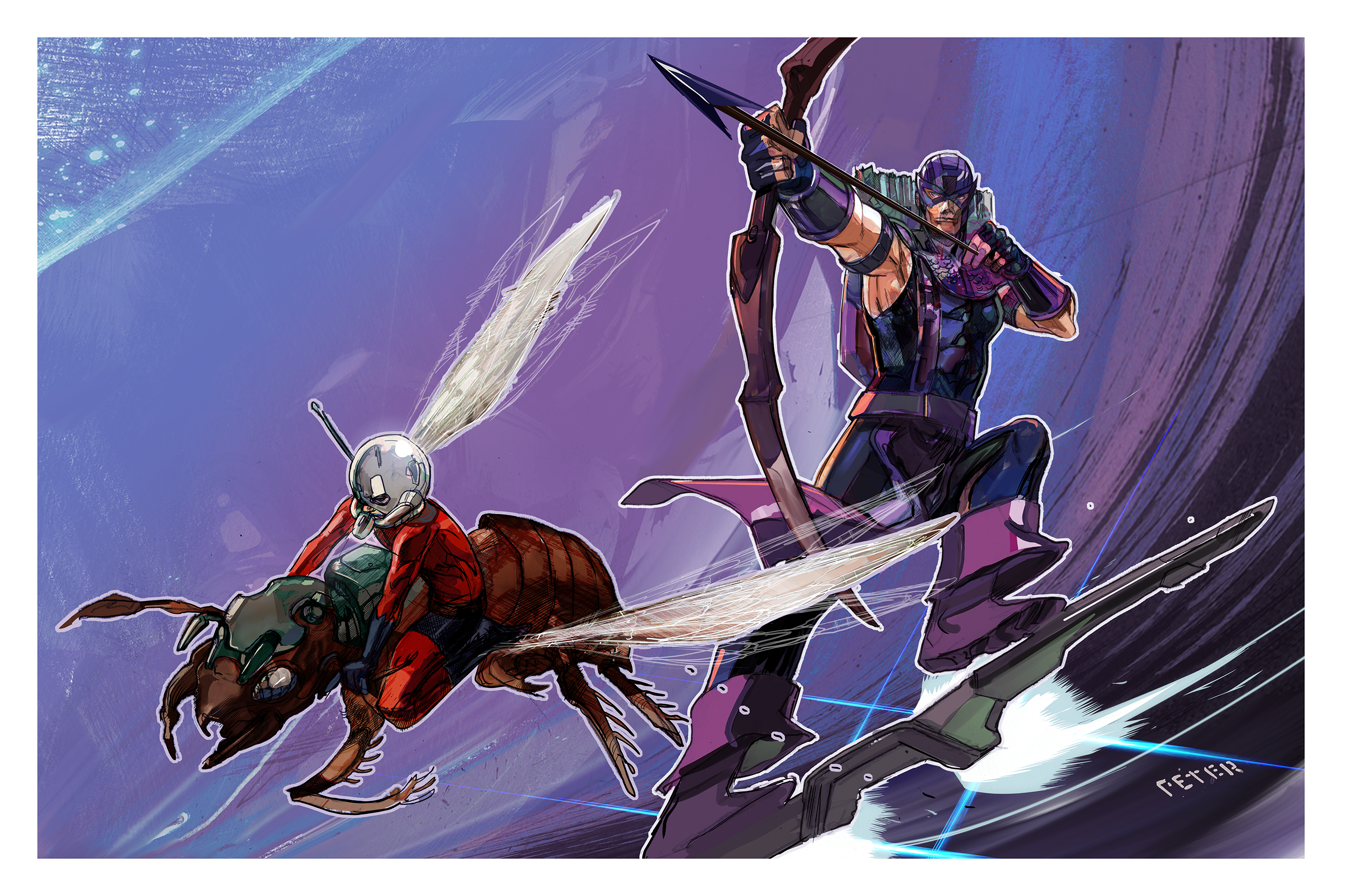 HAWKEYE and antman by Peter-v-Nguyen