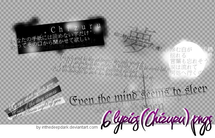 Chizuru Lyrics Pngs - pack 01 by InTheDeepDark