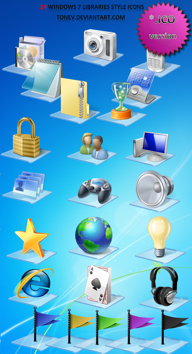 Windows 7 Libraries icons .ico by tonev on DeviantArt