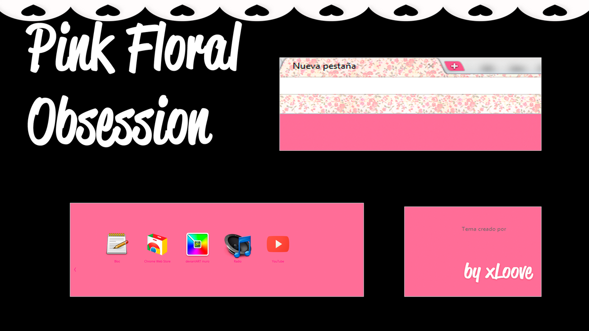 Google themes kawaii - Floral Pink Obsession Google Chrome Theme By Xloove