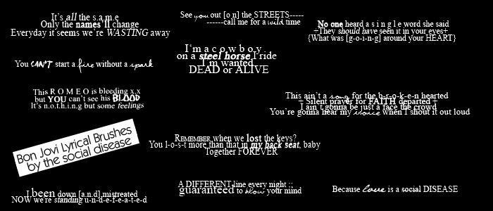 Bon Jovi Lyrical Brushes by the-social-disease