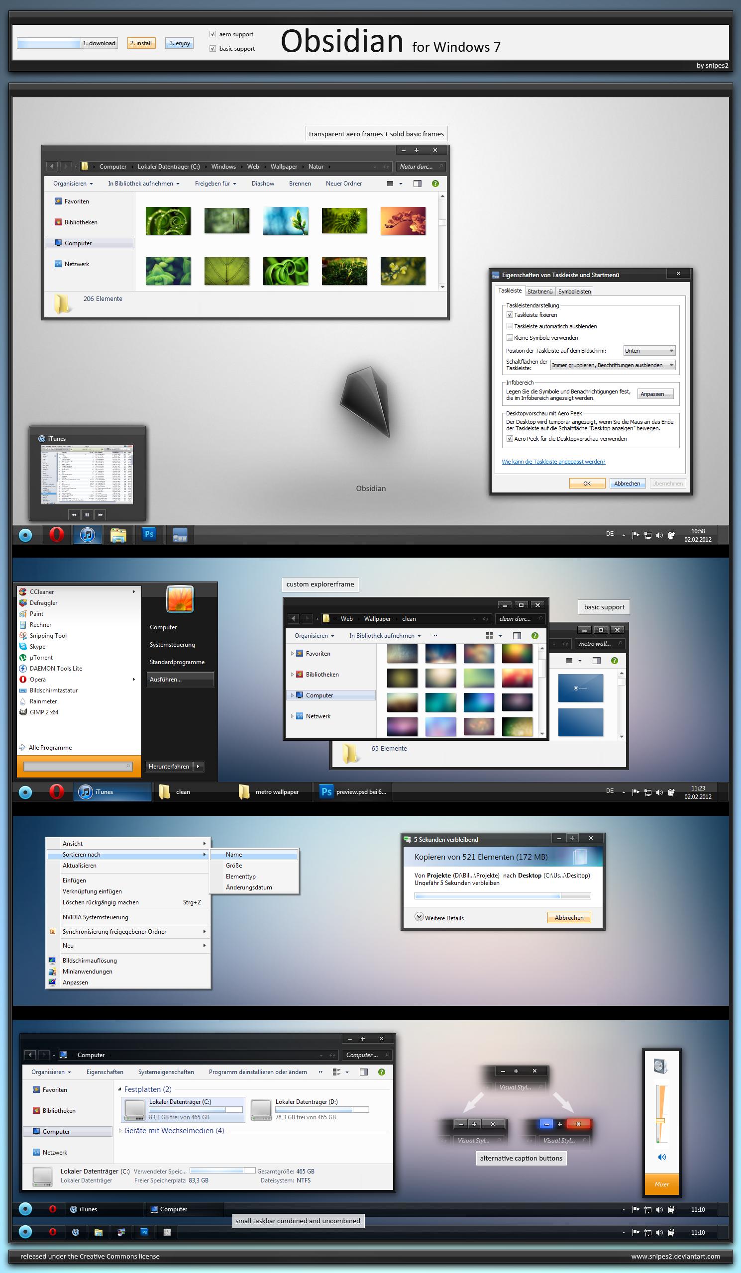 Obsidian for Windows 7 - aero/basic