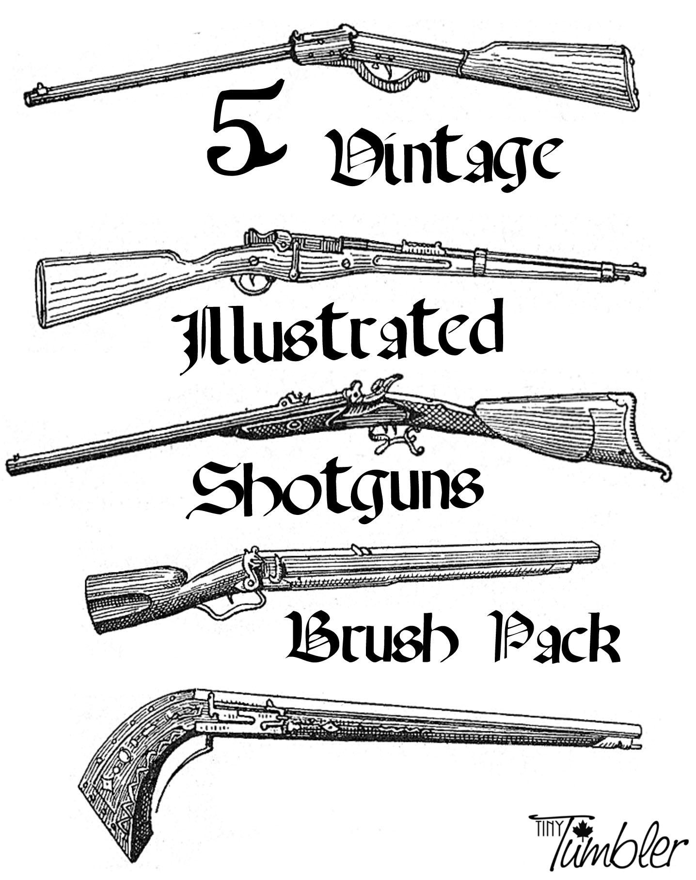 Vintage Shotguns Brushpack by TinyTumbler