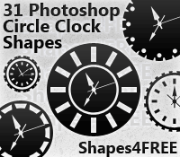 31 Photoshop Clock Shapes by Shapes4FREE