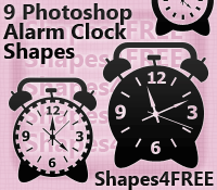 9 Photoshop Alarm Clock Shapes by Shapes4FREE