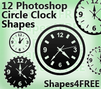 12 Photoshop Clock Shapes by Shapes4FREE