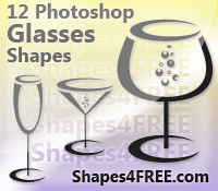 12 Glasses PS Custom Shapes by Shapes4FREE