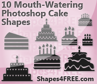 10 Cake PS Custom Shapes by Shapes4FREE