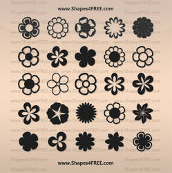 25 Flowers Shapes by Shapes4FREE