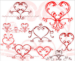 Photoshop brushes: Love hearts