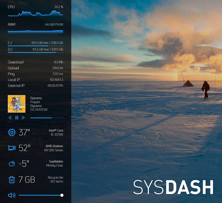 sysDash - A simple and clean system monitor skin by MarcoPixel on