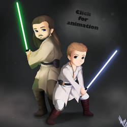Qui-Gon and Obi-Wan:Animation by xXUnicornXx