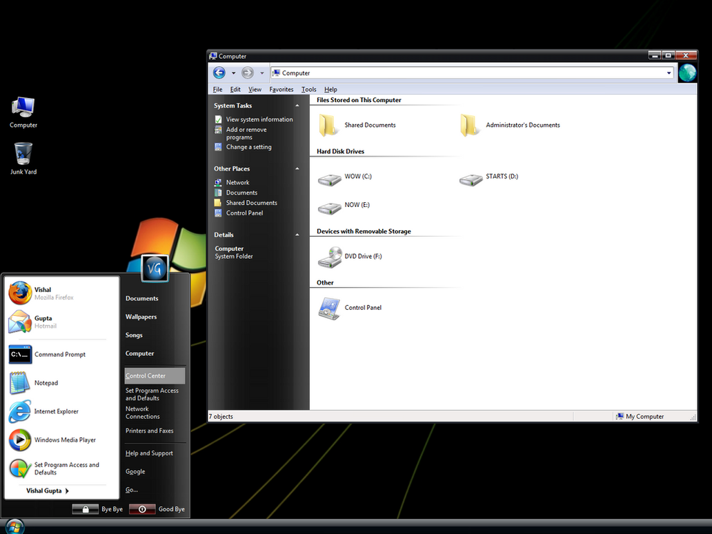 VistaVG Black for Windows XP by Vishal-Gupta