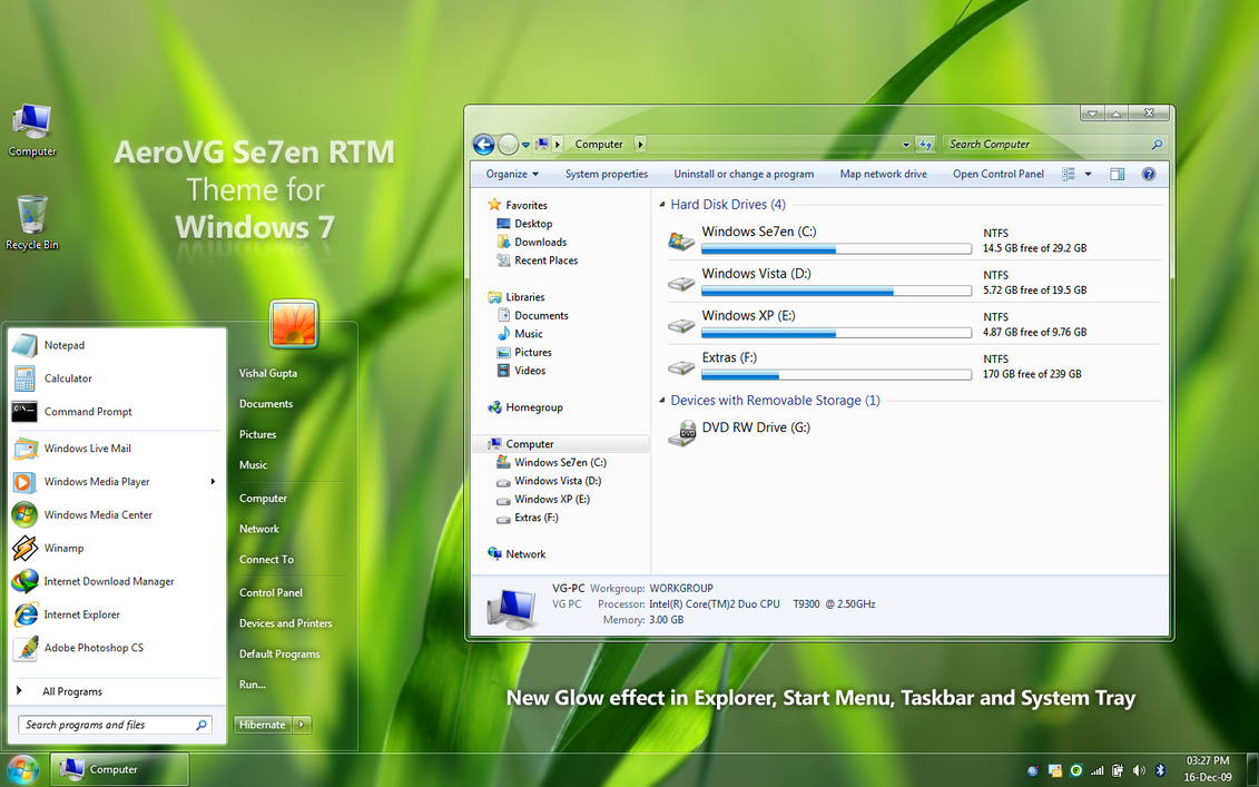 AeroVG Se7en for Windows 7 by Vishal-Gupta