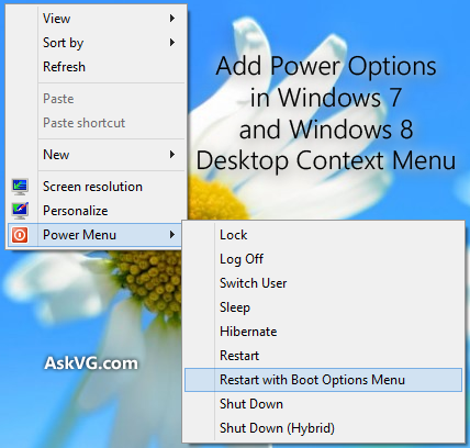 Add Power Options in Desktop Context Menu by Vishal-Gupta