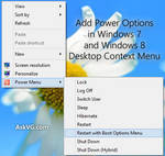 Add Power Options in Desktop Context Menu