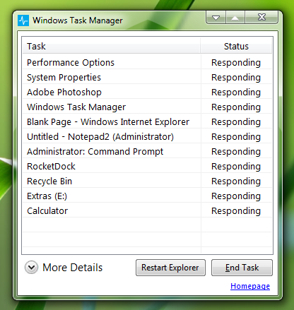 Windows 8 Metro Task Manager for XP, Vista and 7 by Vishal