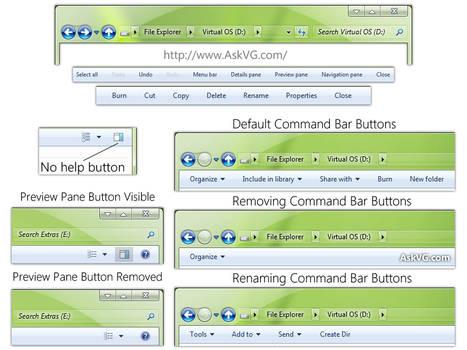 Tweak and Customize Windows 7 Explorer Command Bar