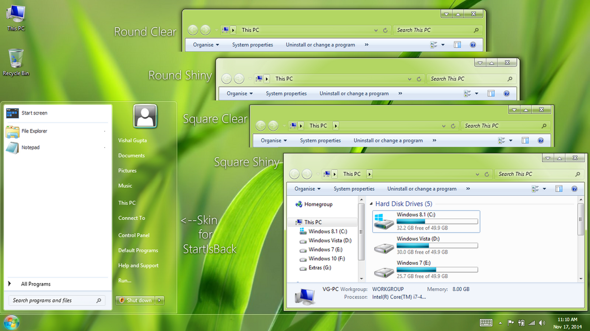 AeroVG Ei8ht.1ne Theme for Windows 8.1 by Vishal-Gupta