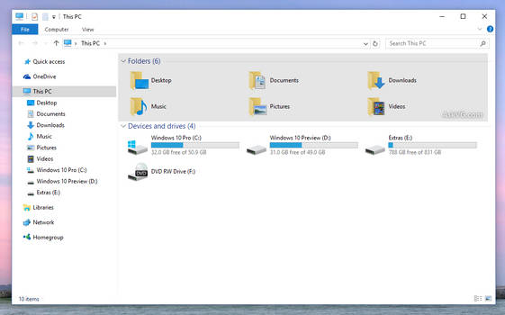 [Tip] Remove 6 Folders from This PC in Windows 10