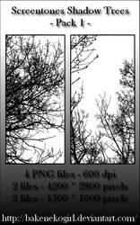 Screentones Shadow Trees - Pack 1 by bakenekogirl