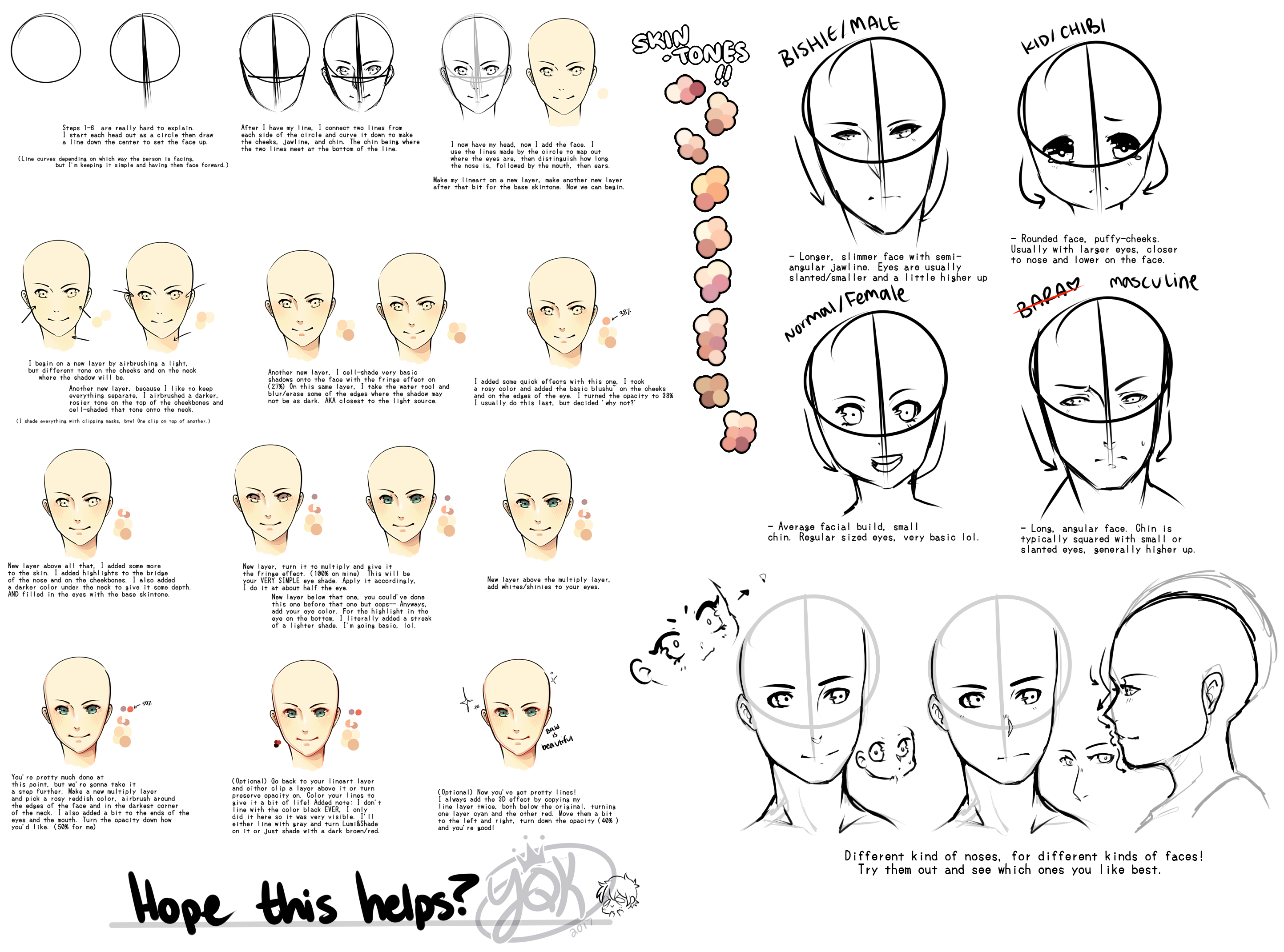 [TUT] SKETCHY Basic Anime Heads and Faces by YQK