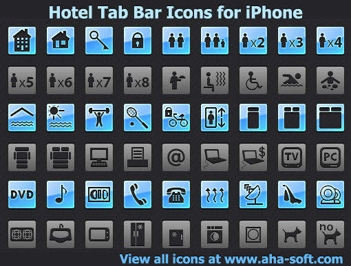 Hotel Tab Bar Icons for iPhone by yourmailkept