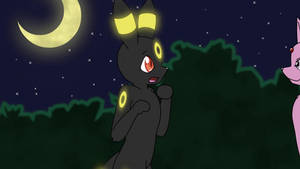 Animated Pin-Up Shy Umbreon