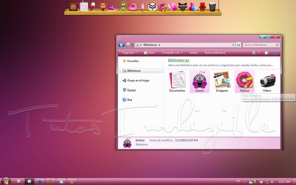 Vista pink pastel Theme Win7 by invhizible