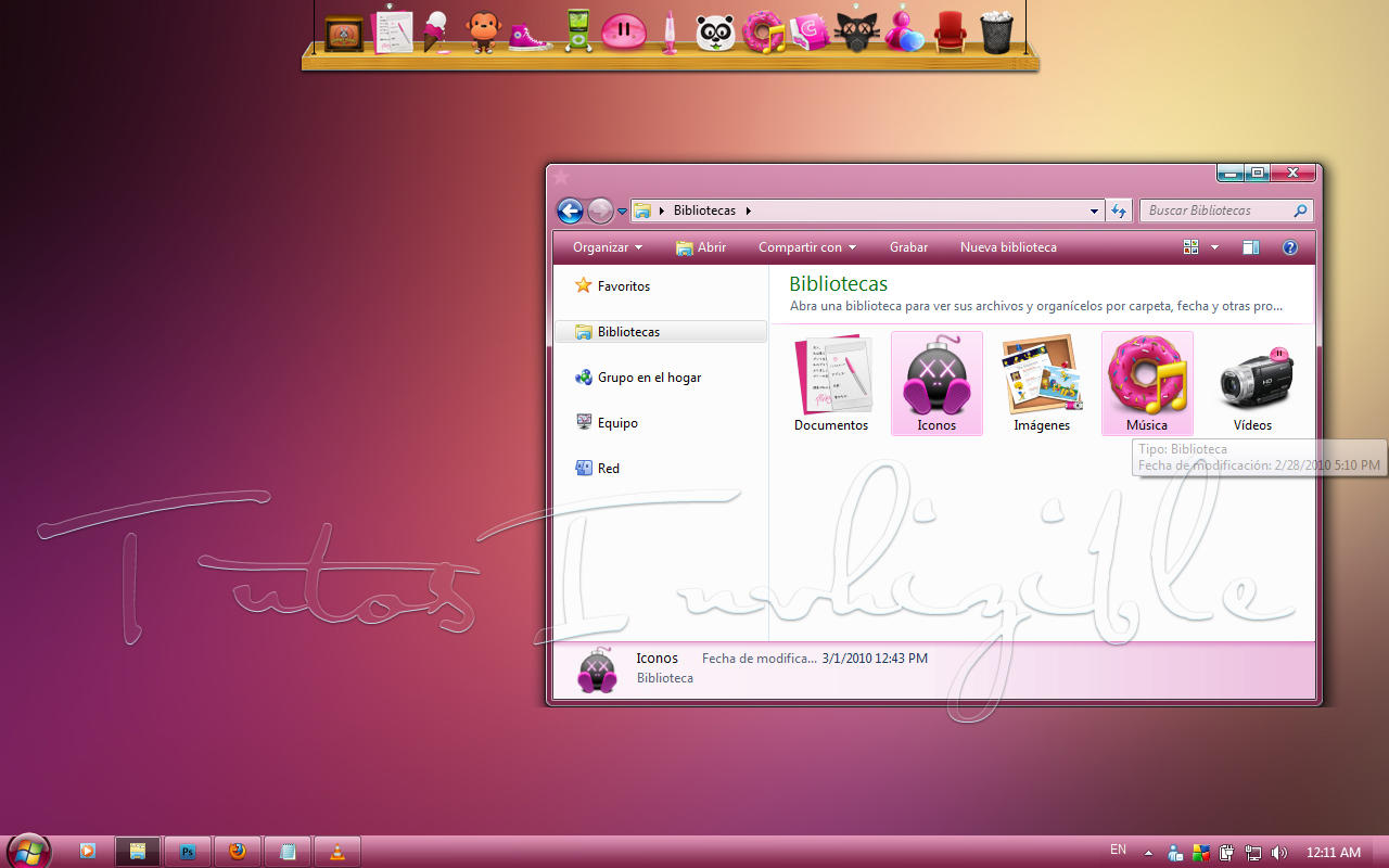 Vista pink pastel Theme Win7 by invhizible