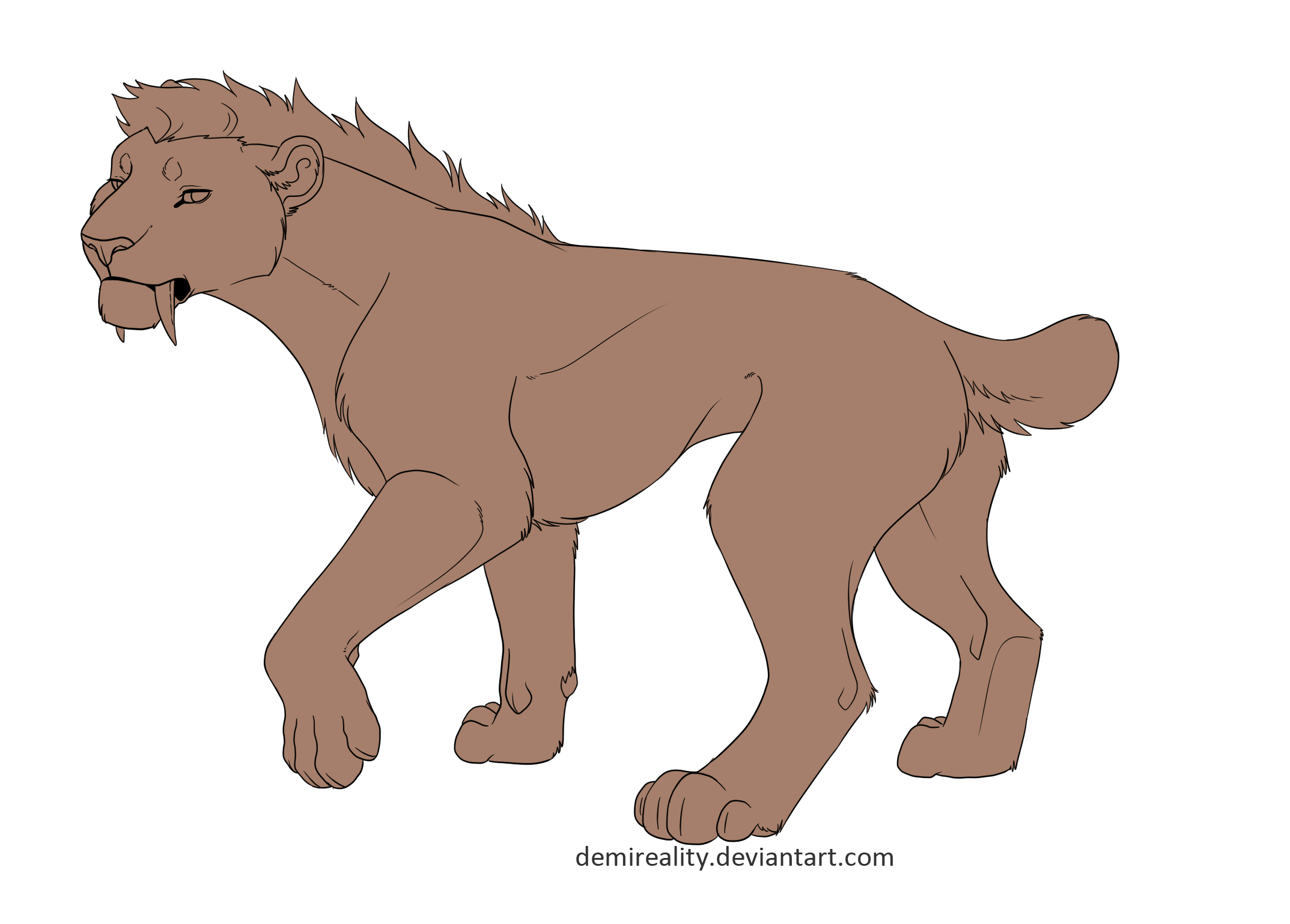 Free Sabertooth Lineart  (png and paint version)
