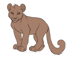 Free feline cub Lineart by DemiReality
