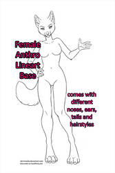 Free Anthro Girl Base - Lineart by DemiReality
