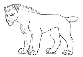 Free Smilodon Lineart by DemiReality