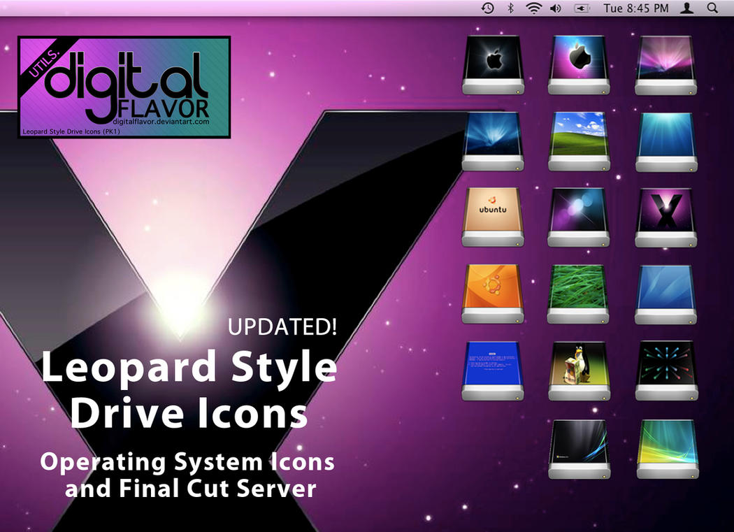 Leopard Style OS Drive Icons by digitalFLAVOR