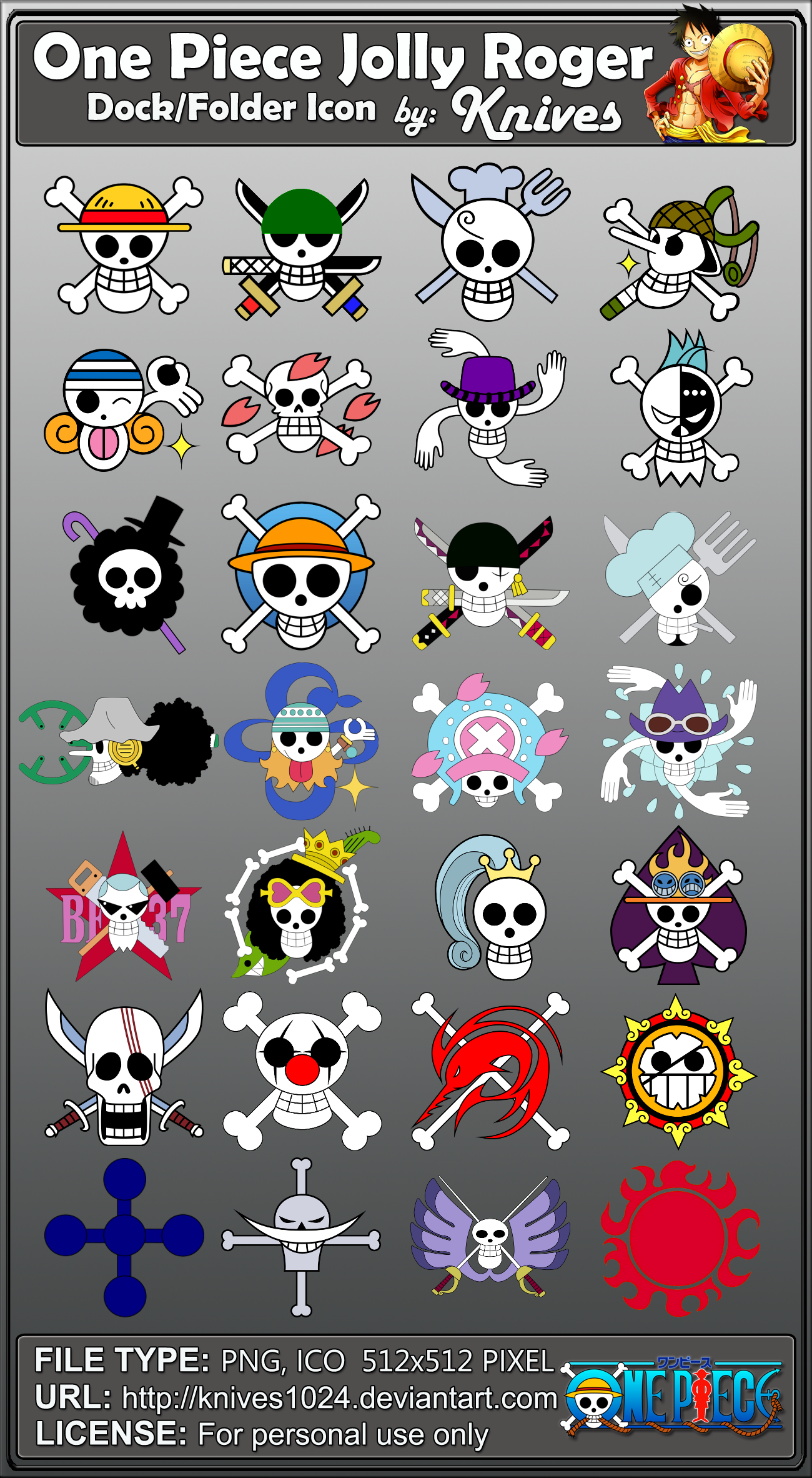 One Piece Jolly Roger Dock and Folder Icons by by ... Official One Piece Jolly Rogers