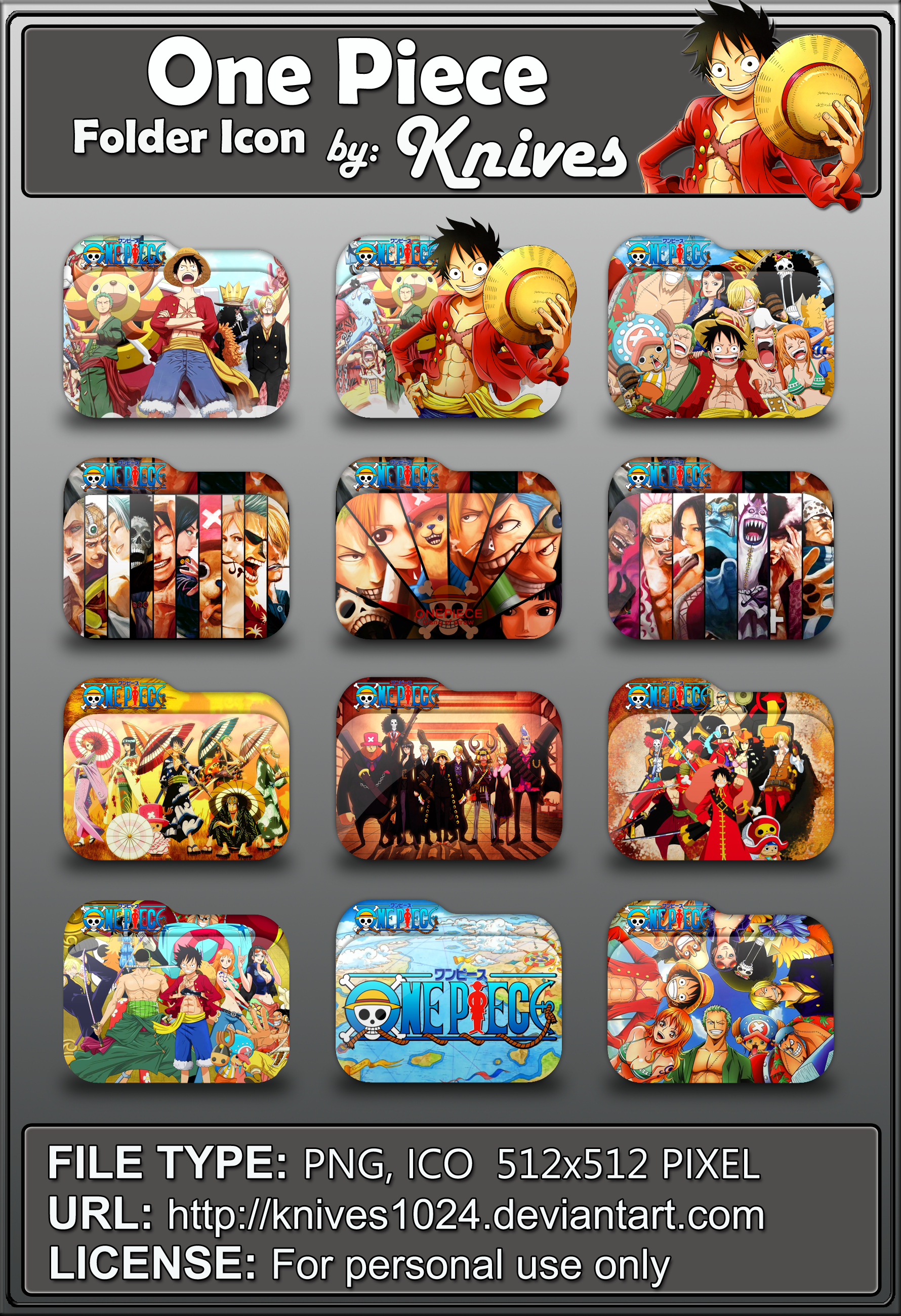 One Piece Anime Folder Icon By Knives By Knives1024 On