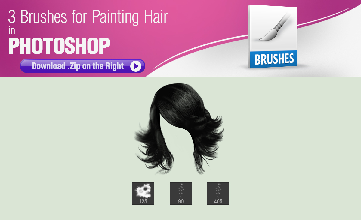 3 Brushes for Painting Hair in Photoshop
