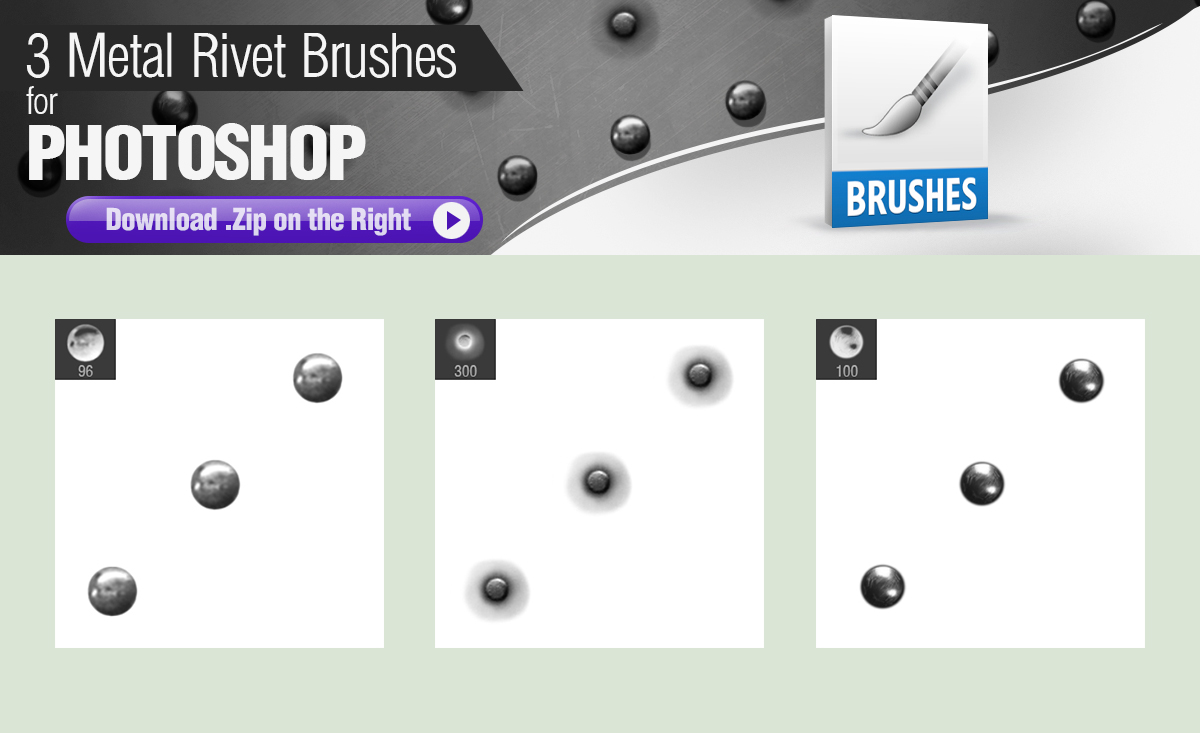 3 Metal Rivet Brushes For Photoshop By Pixelstains On