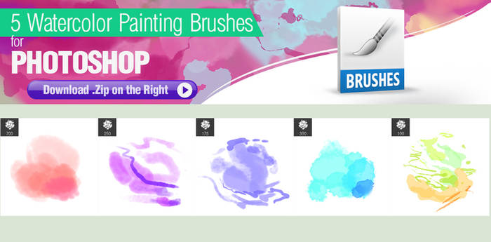 5 Watercolor Brushes for Photoshop