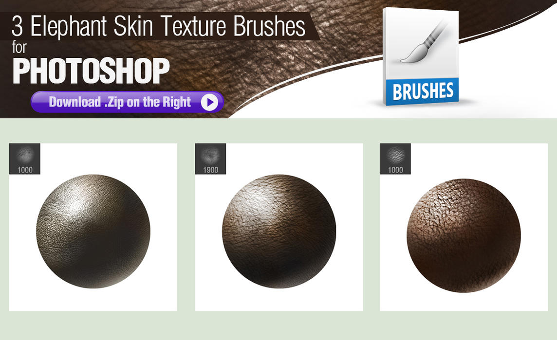 3 Photoshop Brushes for Painting Elephant Skin by pixelstains on