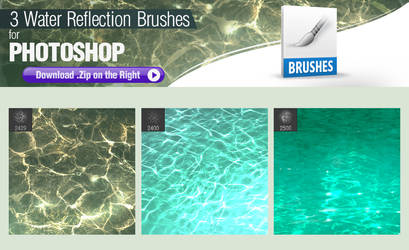 3 Photoshop Brushes for Painting Water Reflections by pixelstains