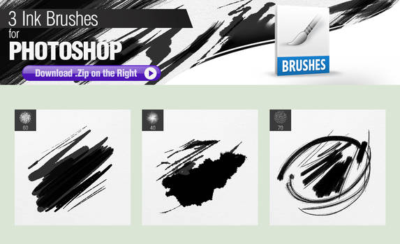 3 Ink Brushes for Photoshop